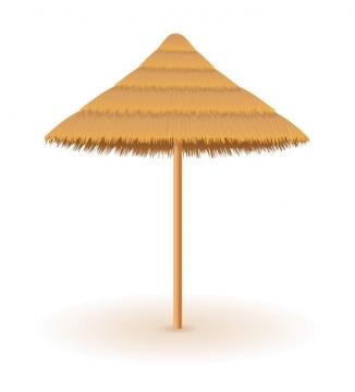 沙滩茅草伞遮阳伞旅游图片免抠素材