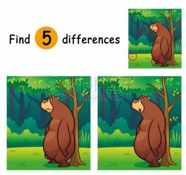 儿童益智游戏插图蹭背的熊找茬找不同配图png图片免抠素材