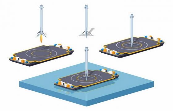 Space X在海上火箭降落埠上降落的猎鹰9号可回收火箭示意图png图片免抠eps矢量素材