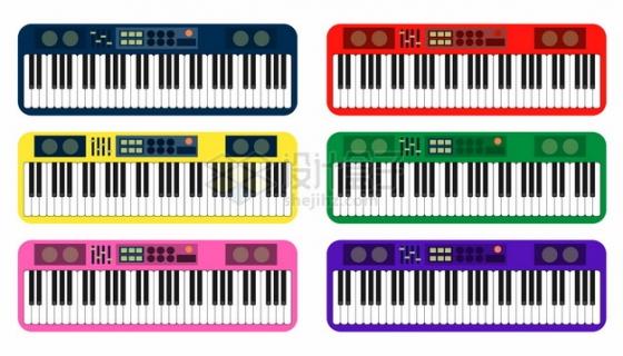 6种颜色的电子琴204640png矢量图片素材