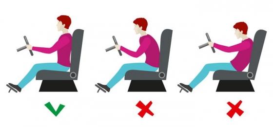 驾驶员驾车正确和错误坐姿对比图图片免抠素材