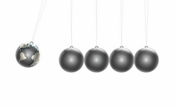 抽象银灰色牛顿摆地球小球png图片免抠eps矢量素材