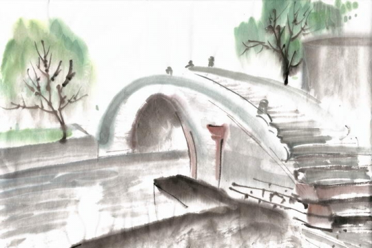 彩色水墨画涂鸦风格中国传统建筑拱桥风景照png免抠图片