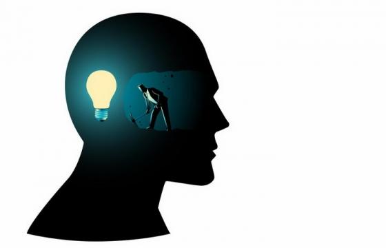 黑色插画风格抽象人体大脑内象征点子的电灯泡和正在挖掘思想的人png图片免抠素材