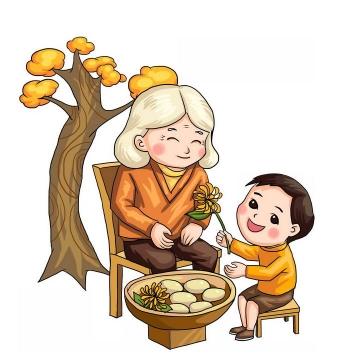 秋天重阳节敬老和奶奶一起赏菊做糕点png免抠图片