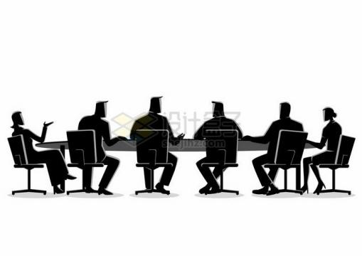 插画风格正在开会讨论的商务人士职场人士png图片免抠素材