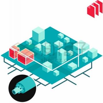 3D城市地下管道通信电缆建设png图片素材