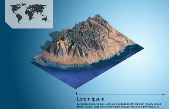 地理地质海边的崇山峻岭地形地貌PS 3D模型图片模板