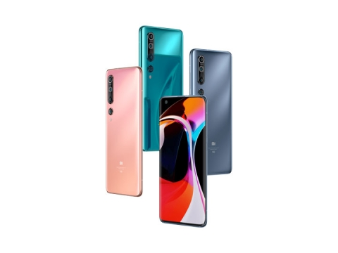4种颜色的小米10Pro手机竖直放置png图片免抠素材