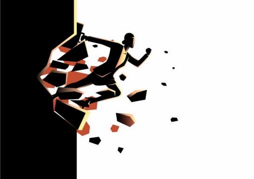 黑色插画风格冲破壁垒的职场商务女士png图片免抠素材