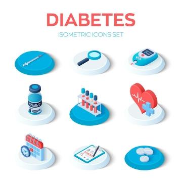 9款2.5D风格医疗医学类图标图片免抠矢量素材
