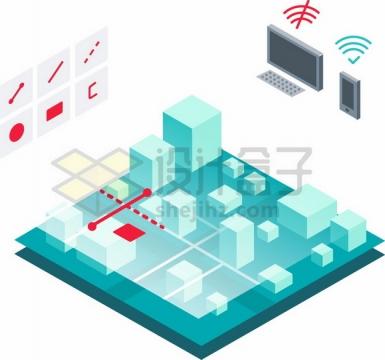 3D城市地下通信电缆建设png图片素材