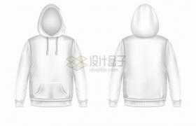 白色套头衫连帽衫衣服正面反面图png图片素材