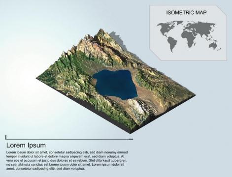 地理地质崇山峻岭中的高山湖泊地形地貌PS 3D模型图片模板