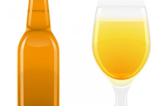 褐色啤酒瓶和葡萄酒杯啤酒杯图片免抠素材