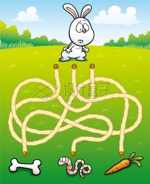 儿童益智游戏插图兔子吃什么迷宫幼儿游戏png图片免抠素材