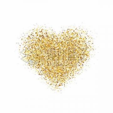 金色圆点组成的心形图案情人节png图片免抠矢量素材
