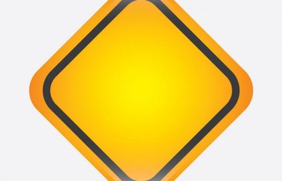 高光风格正方形黄色提示牌警告标志警示标牌方框图片免抠矢量素材