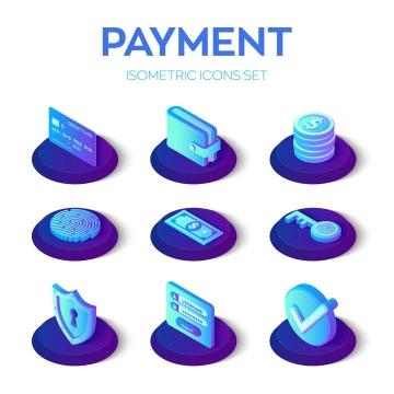 9款2.5D紫色渐变色风格银行卡信用卡钱包美元指纹解锁等网络支付安全图标图片免抠矢量素材