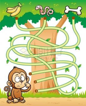 儿童益智游戏插图猴子吃什么迷宫幼儿游戏png图片免抠素材