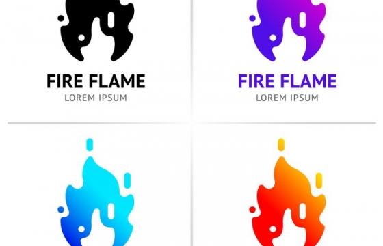 4种颜色的火焰logo设计方案图片免抠素材