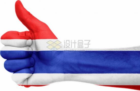 竖起大拇指的手上印着泰国国旗图案png图片素材