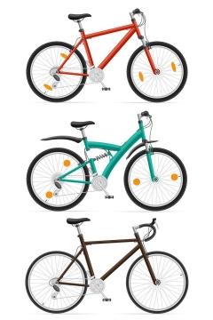 三款山地自行车侧视图图片免抠素材