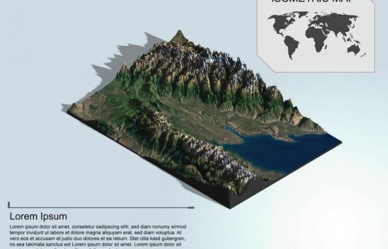 地理地质山顶覆盖积雪的海边高山地形地貌PS 3D模型图片模板