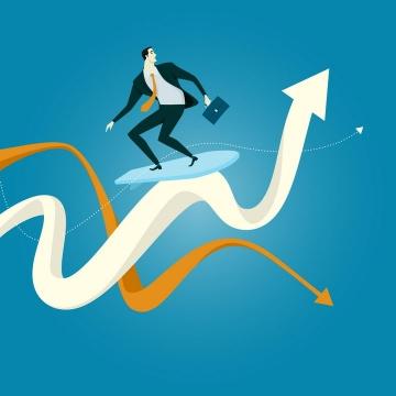 扁平插画风格站在冲浪板上在数据的海洋上冲浪的商务人士象征了投资的波动性和风险性png图片免抠eps矢量素材