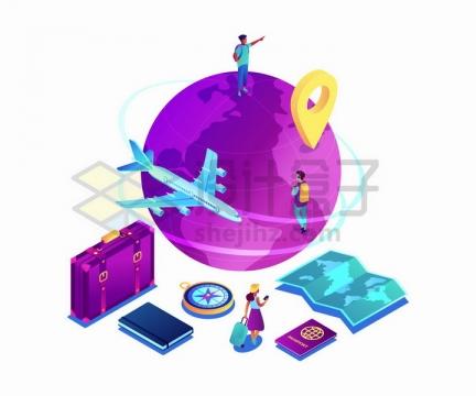 紫色地球模型蓝色飞机旅行箱指南针地图等世界旅行元素png图片免抠矢量素材