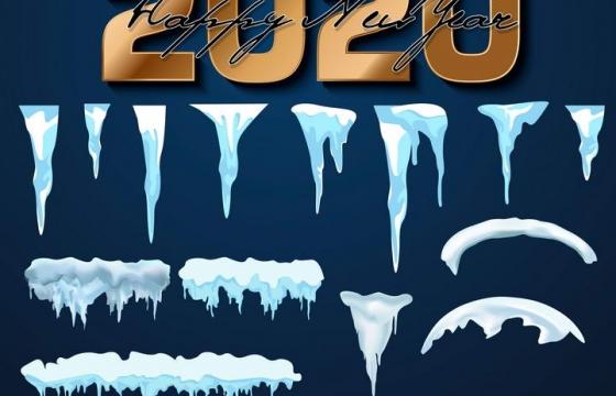 3D风格冬天覆盖的雪花冰柱图片免抠素材