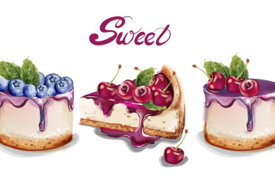 逼真的蓝莓樱桃奶油蛋糕图片免抠素材