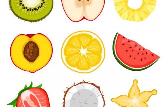 猕猴桃苹果菠萝桃子柠檬西瓜草莓椰子杨桃等水果图片免抠素材
