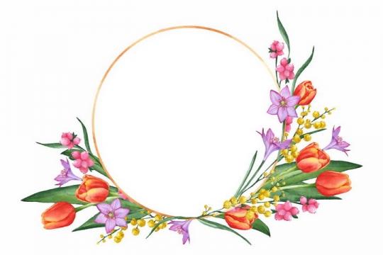红色郁金香等花朵组成的圆环标题框png图片免抠素材