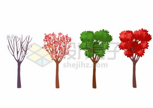 冬天春天夏天和秋天的卡通大树一年四季枯荣变化544617矢量图片免抠素材