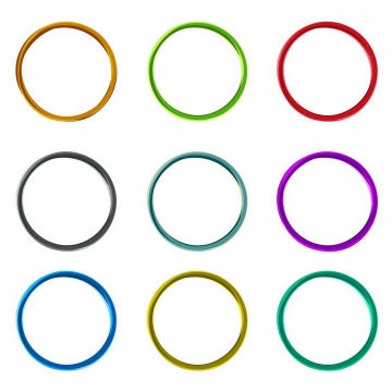 9款彩色扭曲的圆环png图片免抠eps矢量素材