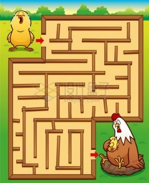 儿童益智游戏插图小鸡找妈妈迷宫幼儿游戏png图片免抠素材