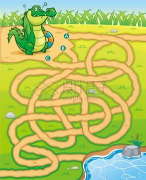 儿童益智游戏插图小鳄鱼找河流迷宫幼儿游戏png图片免抠素材