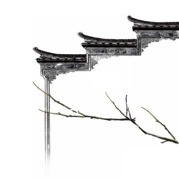 水墨画风格中国传统建筑徽式建筑屋檐png免抠图片