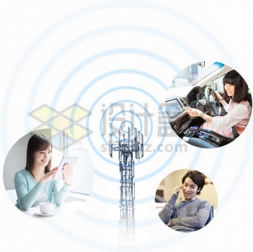 无线信号发射塔和各种应用png图片素材