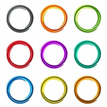 9款彩色涂鸦线条圆环png图片免抠eps矢量素材