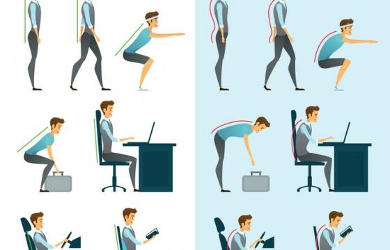正确和错误的站姿蹲姿坐姿睡姿对比图图片免抠素材