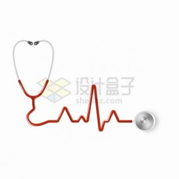 红色听诊器组成的心电图png图片素材
