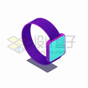 2.5D风格紫色方框智能手表png图片免抠矢量素材