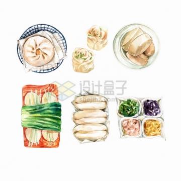 蟹黄汤包花卷馒头油条小菜等美味早餐点心早点美食水彩插画png图片素材