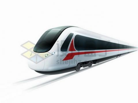 高速奔驰在铁轨上的高铁列车png图片免抠矢量素材