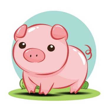 可爱卡通小猪粉色猪站在青草地上图片免抠矢量素材
