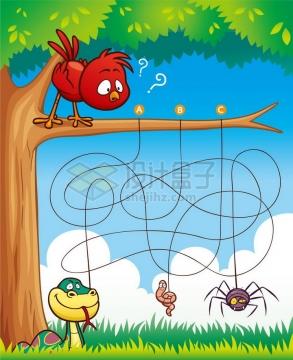 儿童益智游戏插图小鸟吃什么迷宫幼儿游戏png图片免抠素材