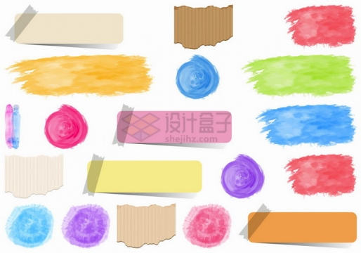 胶带贴纸便签水彩画涂鸦效果等png图片免抠矢量素材