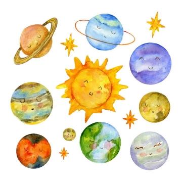 可爱水彩画风格卡通太阳系九大行星图片免抠素材